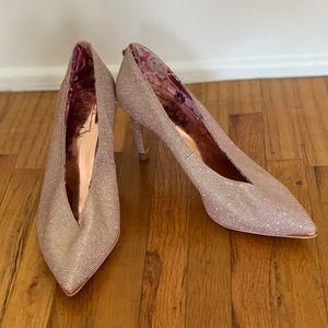 Ted Baker London Rose Gold Glitter Heels, 37/US 7